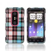 HTC EVO 3D Hard Case - Plaid Pattern of Blue/ Brown/ Silver
