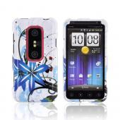 HTC EVO 3D Hard Case - Blue Flower Splash on White