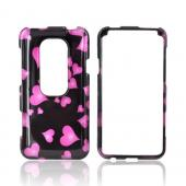 HTC EVO 3D Hard Case - Pink Hearts on Black