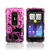 HTC EVO 3D Hard Case - Black Swirls Design on Purple