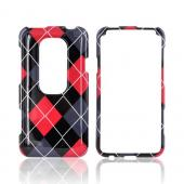 HTC EVO 3D Hard Case - Red/ Black/ Gray Argyle