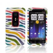 HTC EVO 3D Hard Case - Rainbow Zebra on White