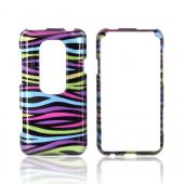 HTC EVO 3D Hard Case - Rainbow Zebra on Black