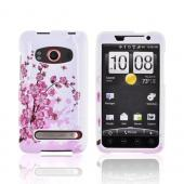 HTC Evo 4G Hard Case - Pink Cherry Blossoms on White