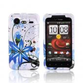 HTC Droid Incredible 2 Hard Case - Blue Flower Splash on White