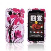 HTC Droid Incredible 2 Hard Case - Pink Flower Splash on White