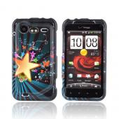 HTC Droid Incredible 2 Hard Case - Star Blast & Butterflies on Teal/ Black