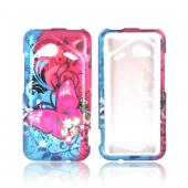 HTC Droid Incredible 4G LTE Hard Case - Hot Pink Butterfly Bliss
