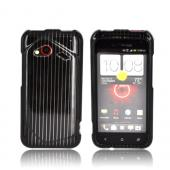 HTC Droid Incredible 4G LTE Hard Case - Silver Lines on Black