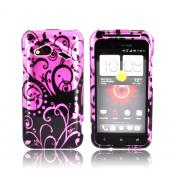 HTC Droid Incredible 4G LTE Hard Case - Black Swirls on Pink