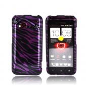 HTC Droid Incredible 4G LTE Hard Case - Purple/ Black Zebra