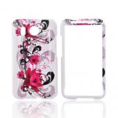 HTC Inspire 4G Hard Case - Pink Flower on White