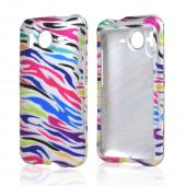HTC Inspire 4G Hard Case - Rainbow Zebra on Silver