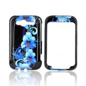 HTC Wildfire S (GSM) Hard Case - Blue Flowers on Black