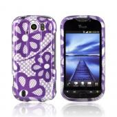 HTC Mytouch 4G Slide Hard Case - Purple Lace Flowers on Silver
