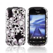 HTC Mytouch 4G Slide Hard Case - Silver Skulls on Black