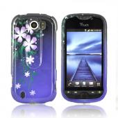 HTC Mytouch 4G Slide Slide Hard Case - Purple Night Flowers on Blue/ Black