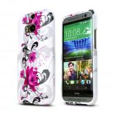 Magenta Flowers on White Hard Case for HTC One 2