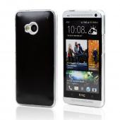 Black Aluminum Back on Clear Hard Case for HTC One