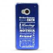 Text Wall - Geeks Designer Line Laser Series Blue Aluminum Back on Clear Hard Case for HTC One