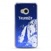 Yosemite - Geeks Designer Line Laser Series Blue Aluminum Back on Clear Hard Case for HTC One