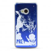 Wolf Prey - Geeks Designer Line Laser Series Blue Aluminum Back on Clear Hard Case for HTC One