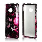 Pink Flowers & Butterflies on Black Hard Case for HTC One