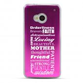 Text Wall - Geeks Designer Line Laser Series Hot Pink Aluminum Back on Clear Hard Case for HTC One