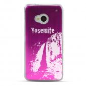 Yosemite - Geeks Designer Line Laser Series Hot Pink Aluminum Back on Clear Hard Case for HTC One