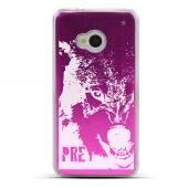 Wolf Prey - Geeks Designer Line Laser Series Hot Pink Aluminum Back on Clear Hard Case for HTC One