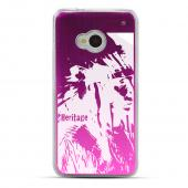 World Heritage Native American - Geeks Designer Line Laser Series Hot Pink Aluminum Back on Clear Hard Case for HTC One