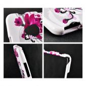 Magenta Flowers & Black Vines on White Hard Case for HTC One