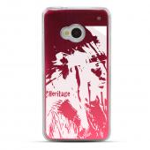 World Heritage Native American - Geeks Designer Line Laser Series Red Aluminum Back on Clear Hard Case for HTC One