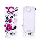 HTC One S Hard Case - Magenta Flowers & Black Vines on White