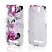 Magenta Flowers and Black Vines on White Hard Case for HTC One SV
