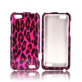 HTC One V Hard Case - Hot Pink/ Black Leopard