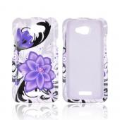 HTC One X Hard Case - Purple Lily on White