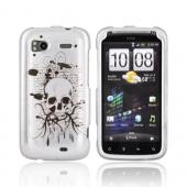 HTC Sensation 4G Hard Case - Black Skull on Silver