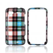 HTC Sensation 4G Hard Case - Blue/ Brown/ Green Plaid on Silver