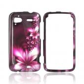 HTC Sensation 4G Rubberized Hard Case - Pink Flowers on Maroon