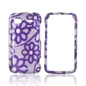 HTC Sensation 4G Hard Case - Purple Flower Lace on Silver