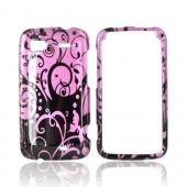 HTC Sensation 4G Hard Case - Black Swirls Design on Purple
