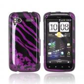 HTC Sensation 4G Hard Case - Black Zebra & Stars on Purple