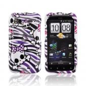 HTC Sensation 4G Hard Case - White Skulls on Gray/ Purple Zebra