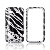 HTC Sensation 4G Hard Case - Black/ Silver Zebra & Stars