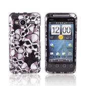 HTC EVO Shift 4G Hard Case - Silver Skulls on Black