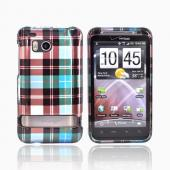 HTC Thunderbolt Hard Case - Plaid Pattern of Blue, Brown, and Silver