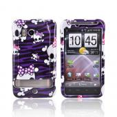 HTC Thunderbolt Hard Case - White Skulls on Purple Zebra