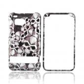 Luxmo HTC Thunderbolt Hard Case - Silver Skulls on Black