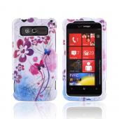 HTC Trophy Hard Case - Pink/ Purple Flowers and Butterflies on White
